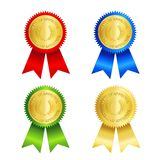 Gold seal with ribbon Royalty Free Stock Photography