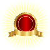 Gold seal and ribbon. Gold and red seal / stamp with golden banner illustration  on white Royalty Free Stock Photography
