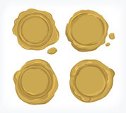 Gold seal wax vector and cliparts for industries Royalty Free Stock Images