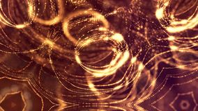 Gold seamless abstract background with particles. Virtual space with depth of field, glow sparkles and digital elements. Seamless abstract background with stock video footage