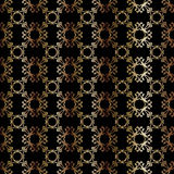 Gold seamless geometric pattern on a black background vector illustration