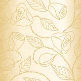 Gold seamless hand drawn pattern with roses stock illustration