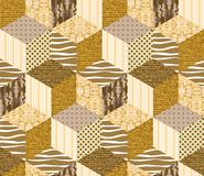 Gold seamless patchwork pattern. Royalty Free Stock Photography
