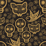 Gold seamless pattern  Day of the Dead Royalty Free Stock Image