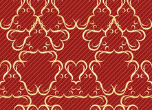 Gold seamless pattern on a red background Royalty Free Stock Images