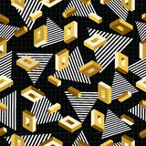 Gold seamless pattern retro 80s 3d background Stock Photo