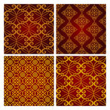 Gold seamless patterns Royalty Free Stock Photo