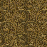 Gold seamless texture with swirls pattern. 3d illustration Royalty Free Stock Photography