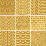 Gold seamless wave patterns Stock Photography