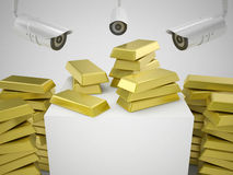 Gold and security cameras Stock Image