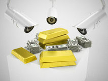 Gold and security cameras Stock Photography