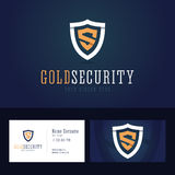 Gold security logo and business card template. Stock Images