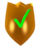 Gold security shield Royalty Free Stock Image