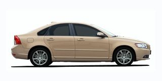 Gold Sedan Side View Royalty Free Stock Images