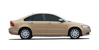 Gold Sedan Side View Stock Photo