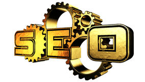Gold seo. Optimization of search engines with golden gears 3d rendering with clipping path Stock Photos