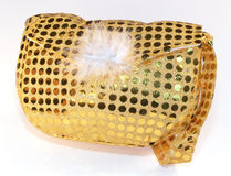 Gold sequin bag Stock Photo
