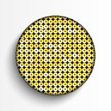 Gold sequin circle button on white background. Stock Photography