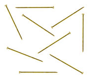 Gold sequin pins on a white background Royalty Free Stock Photo
