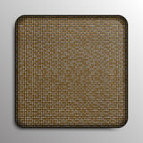 Gold sequin square button on background. Stock Photo