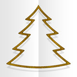 Gold Sequins Christmas Tree. Winter. New Year. Royalty Free Stock Images