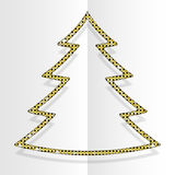 Gold Sequins Christmas Tree. Winter. New Year. Royalty Free Stock Photos