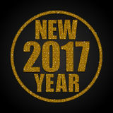 Gold Sequins New 2017 Year. Star. Circle. Happy New Year background for your card. Sparkle glitter background. Glittering Gold golden sequins frame. Star. Eps10 Stock Photo