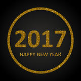Gold Sequins New 2017 Year. Star. Circle. Happy New Year background for your card. Sparkle glitter background. Glittering Gold golden sequins frame. Star. Eps10 Stock Photography