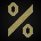 Gold sequins sings. Sequins alphabet. Eps 10. Letters, numbers and symbols in the form of gold sequins Stock Photography