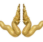 Gold serpent  statue Royalty Free Stock Images