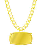 Gold set of chain and plaque. Vector illustration of the gold heavy jewel isolated on white Royalty Free Stock Image