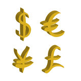 Gold set of main currency signs. Signs of dollar and yen, euro and pound. Vector illustration. Gold set of main currency signs. Signs of dollar and yen, euro and Royalty Free Stock Photos