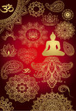 Gold set religion Buddhism Stock Image