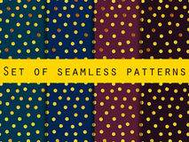 Gold. Set of seamless patterns with gold dots. Abstract background.  Stock Photos