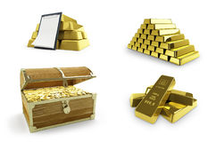 Gold set on a white background 3D illustration, 3D rendering Royalty Free Stock Photos