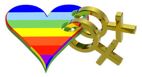 Gold sex symbol linked with rainbow heart stock illustration