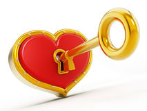 Gold shape opening red heart Stock Photography
