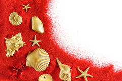 Gold shells red sand Stock Photo