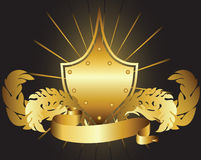 Gold shield Stock Photo