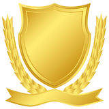 Gold shield. And laurel wreath Royalty Free Stock Image