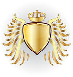 Gold shield crown and wings Royalty Free Stock Photo