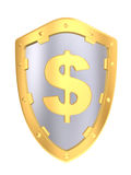 Gold shield with dollar sign Royalty Free Stock Photography
