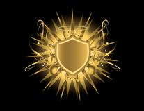 Gold shield with halo. Gold shield with glow on a black background Stock Photo