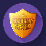 Gold shield icon - protection symbol. Flat design style. Royalty Free Stock Image