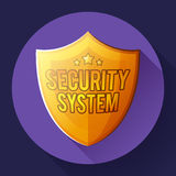 Gold shield icon - protection symbol. Flat design style. Stock Image