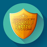 Gold shield icon - protection symbol. Flat design style. Stock Photos