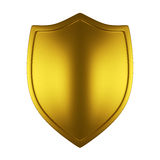 Gold shield. Isolated on white Royalty Free Stock Photo