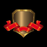 Gold shield and red banner Royalty Free Stock Photography
