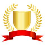 Gold shield red ribbon and laurel Stock Photos