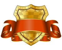 Gold shield with red ribbon Royalty Free Stock Photos